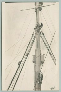 RPPC Man w/Gilligan Bucket Hat Shimmies Up Mast~Another Climbs Rope Ladder~c1937