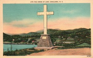 Cross at Lake Junaluska, North Carolina, NC, 1956 Linen Vintage Postcard g8544