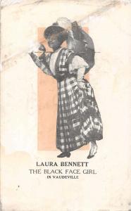 Laura Bennett Black Face Girl in Vaudeville Antique Postcard J64710