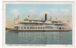 Steamer Express Largest Excursion Boat Baltimore Maryland 1920s postcard