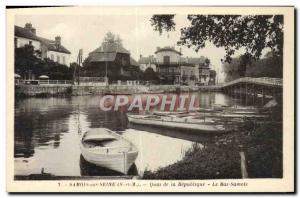 Old Postcard Samois-sur-Seine Quai de la Republique Le Bas Samois