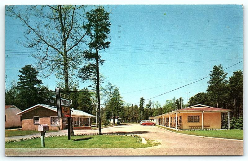 Postcard MI Indian River Nor-Gate Motel 1950's Old Cars B25
