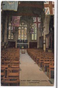 Lancaster; Kings Own Memorial Chapel PPC 1920 PMK to Miss Rickes, Wickham Market