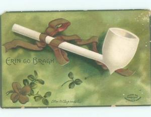 Pre-Linen St. Patrick's signed CLAPSADDLE - TOBACCO PIPE WITH GOLD RIBBON AB3242