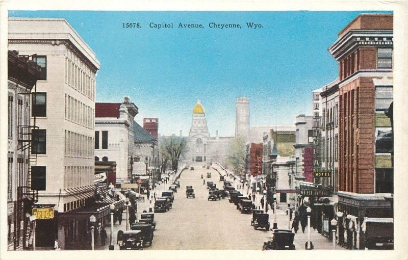 Cheyenne Wyoming~Capital Avenue~Capitola Hotel~1920s Postcard