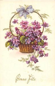 Fantasy Violets Basket 'Bonne Fete!' Happy Birthday!