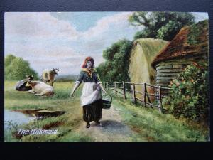 Rural Farm Life - THE MILKMAID with Pail of Milk c1911 Postcard