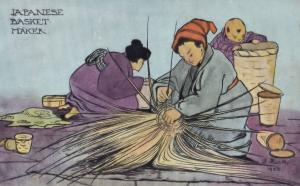 Japanese Basket Maker Antique Japan 1906 Craft Postcard