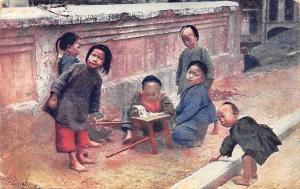 Japan Children Playing, A Sample of the New Coloured Postcard