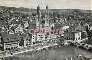 Postcard Modern mit Zurich Grossmunster