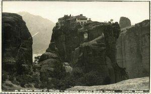 greece, METEORA Μετέωρα, Monastery of the Holy Trinity (1930s) RPPC Postcard