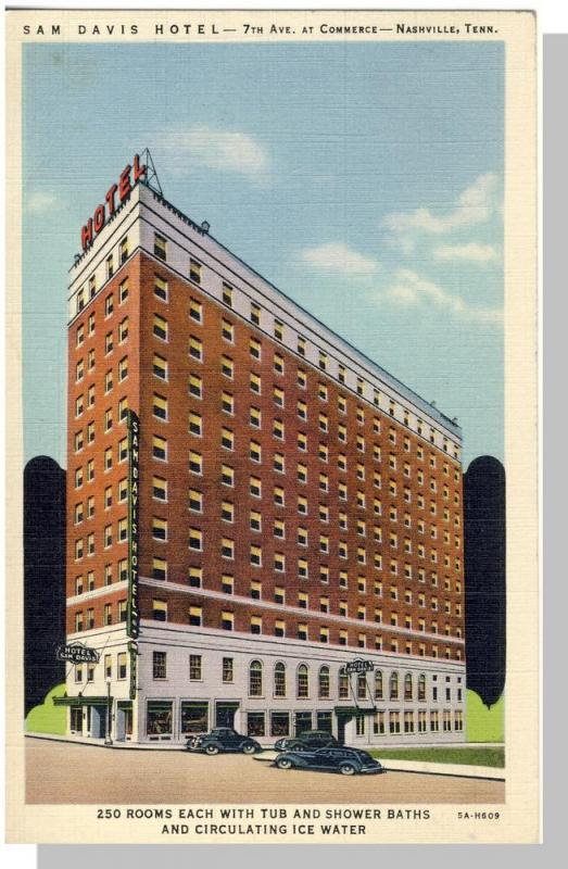 Classic Nashville, Tennessee/TN Postcard, Sam Davis Hotel