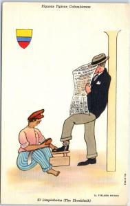 c1940s Colombia Postcard The Shoeblack Artist-Signed BRIGGS Linen Unused