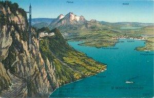 Postcard Switzerland mountain peak lake waldstattersee