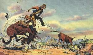 Roping Cattle Western Cowboy, Cowgirl Postcard Postcards  Roping Cattle