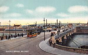 BELFAST NORTHERN IRELAND~QUEEN'S BRIDGE-OPEN AIR TRAM W/BUY REIS POSTCARD SIGN