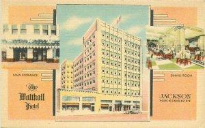 Jackson Mississippi 1930s Malthall Hotel roadside Postcard linen MWM 12938