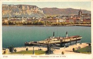 Switzerland Geneve Debarcadere et Vue Vers la Ville Postcard