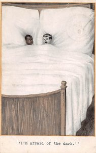 Blacks Post Card I'm Afraid of the Dark Two Children in Bed ...