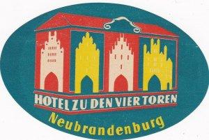 Germany Neubrandenburg Hotel Zu Den Vier Toren Vintage Luggage Label sk3212