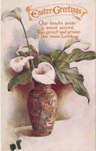 Besutiful flowers in vase Tuck Oilette  Easter Greetings PC # 8987