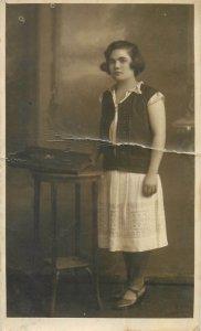 Postcard social history woman portrait white dress  Romania