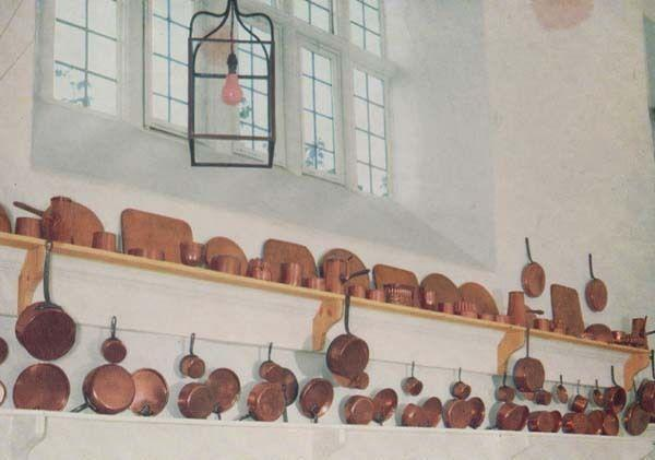 Georgian Kitchen Antique Copper Pan Pans Hatfield House Hertfordshire Postcard