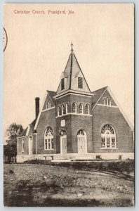 Frankford Maine~Christian Church~Stained Glass Windows~c1910 B&W Postcard