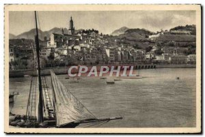 Old Postcard Menton Old Town Boat