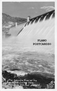 GRAND COULEE DAM, WASHINGTON COLUMBIA RIVER AT DAM RPPC REAL PHOTO POSTCARD