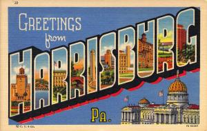 Linen Era,Large Letter,Greetings From Harrisburg, Pa, Old Postcard