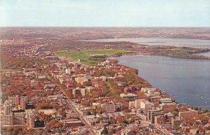 University of Wisconsinand Lake Aerial View Madison WI Vintage Postcard