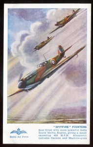 h833 - AIR FORCE Postcard 1940s Artist- DAVIES Spitfire Fighters by Salmon