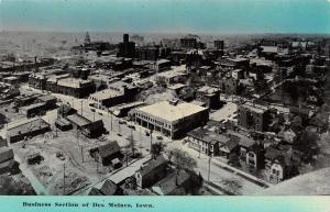 Des Moines Iowa~Business Section Panorama~Not Downtown~1908 Postcard