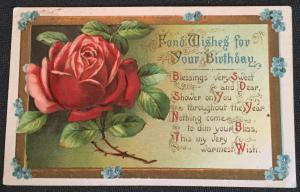 Postcard Used Birthday Embossed Flower Rose LB