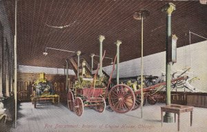 1910 Chicago IL Fire engine House Interior Showing Apparatus Postcard