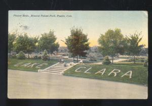 PUEBLO COLORADO MINERAL PALACE PARK LAKE CLARA GREENLEAF KANSAS OLD POSTCARD