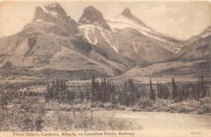 Canmore Alberta Canada~Three Sisters~Canadian Pacific Railway~c1910 B&W Postcard