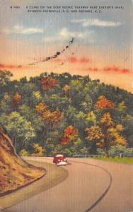 Brevard North Carolina~Curve On The Geer Highway Near Caesars Head~1952 PC