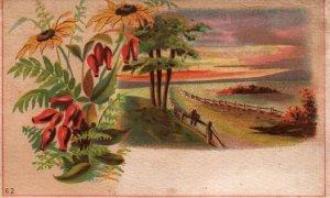 Victorian Trade Card Man Sitting on Wood Fence Floral Landscape Blank Sample