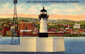 Minnesota Duluth Lighthouse At Entrance To Duluth-Superior Harbor 1946 Curteich