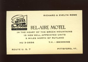 Bel-Aire Motel Business Card, Pittsford, Vermont/VT, Route U.S. 7, 1950's?