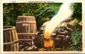 Vintage Postcard Making Moonshine Old Kentucky 1955 Kraemer Art Cincinnati  205