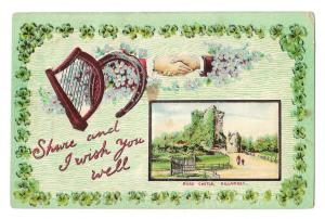 St Patricks Day Shur And I Wish You Well Harp Shamrock Castle Embossed Postcard