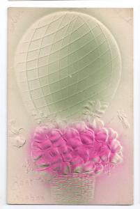 Hot Air Balloon Violets Flowers Airbrushed Embossed c 1907