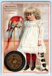 WILLIMANTIC THREAD PARROT KITTEN CAT GIRL HATCH LITHO CO VICTORIAN TRADE CARD