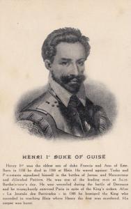 Henri Henry The 1st Duke Of Guise First Vintage Portrait Postcard