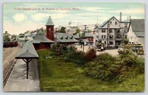 Gardner MA~Union Square Railroad Train Station~Gardner House Hotel~Trolleys~1912
