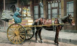 C.1910 A New Orleans Milk Cart Postcard F70