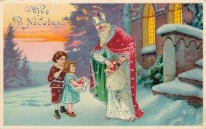 Saint Nicolas European Vintage Embossed Postcard 04.01